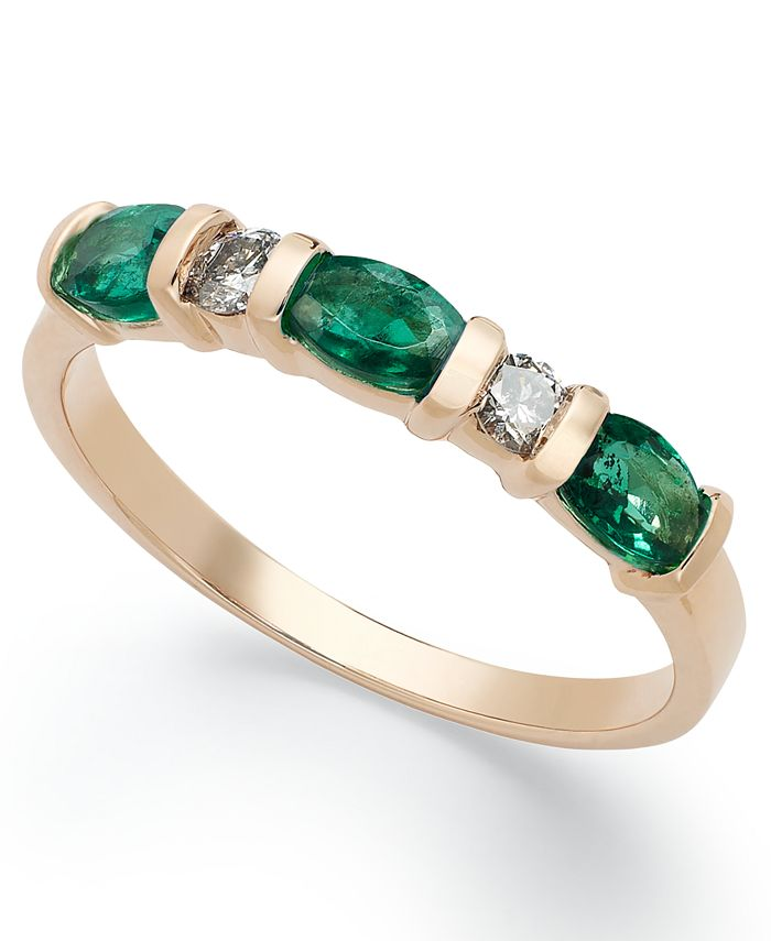 Macy's - 14k Gold Ring, Emerald (3/4 ct. t.w.) and Diamond (1/8 ct. t.w.) Ring