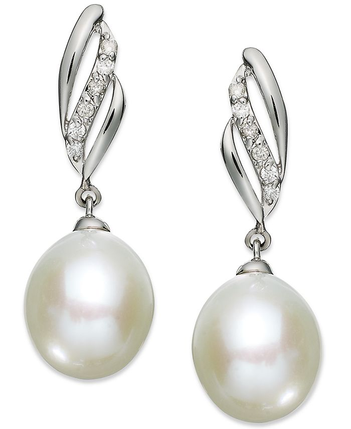 Macy's - 14k White Gold Earrings, Cultured Freshwater Pearl (9mm) and Diamond (1/10 ct. t.w.) Drop Earrings