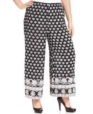 Angie Plus Size Printed Pull-On Wide-Leg Pants