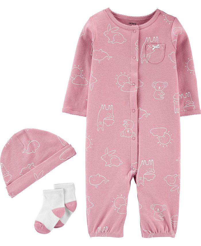 Carter's - Baby Girls 3-Pc. Animal-Print Cotton Coverall, Hat & Socks Set
