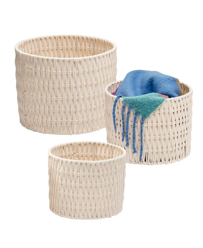 Honey Can Do - Set of 3 Metal Frame Nesting Round Rope Baskets