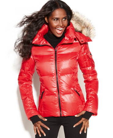 S13 Nyc Hooded Faux Fur Trim Quilted Puffer Coat Coats
