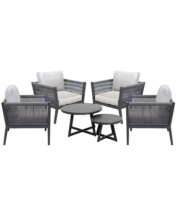 Furniture - Braxtyn Outdoor 5-Pc. Seating Set (4 Club Chairs & Round Nesting Coffee Table) with Sunbrella® Cushions