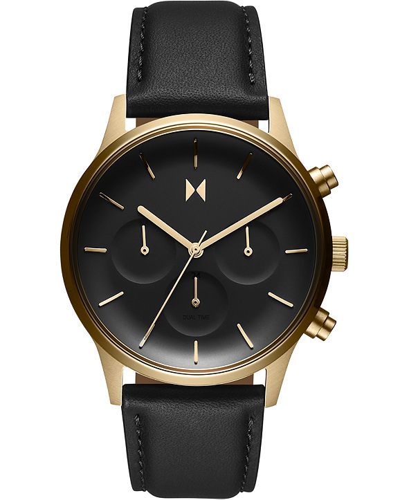 MVMT Women's Chronograph Duet Black Leather Strap Watch 38mm
