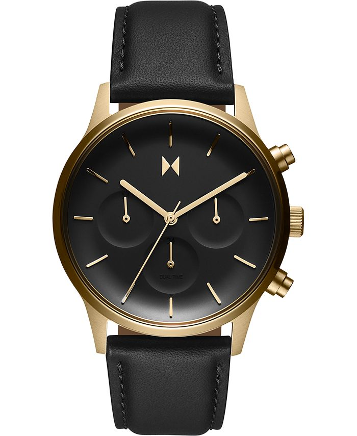 MVMT - Women's Chronograph Duet Black Leather Strap Watch 38mm