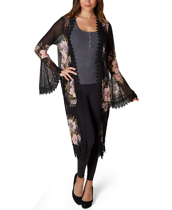Polly & Esther - Juniors' Floral Lace-Trimmed Kimono
