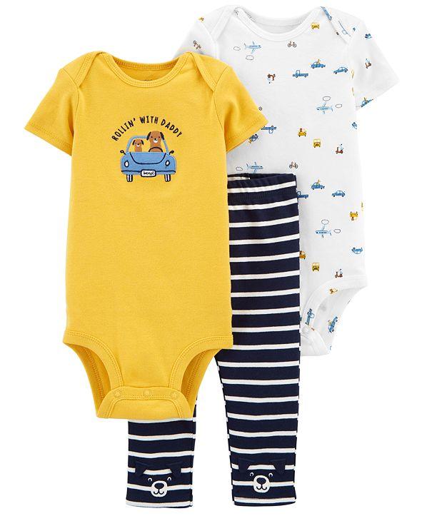 Carter's Baby Boys 3-Pc. Cotton Cars Bodysuits & Striped Pants Set