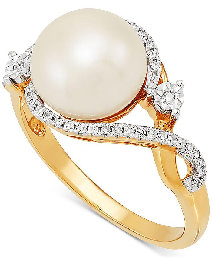 Macy's - Cultured Freshwater Pearl (9mm) & Diamond (1/10 ct. t.w.) in 10k Gold