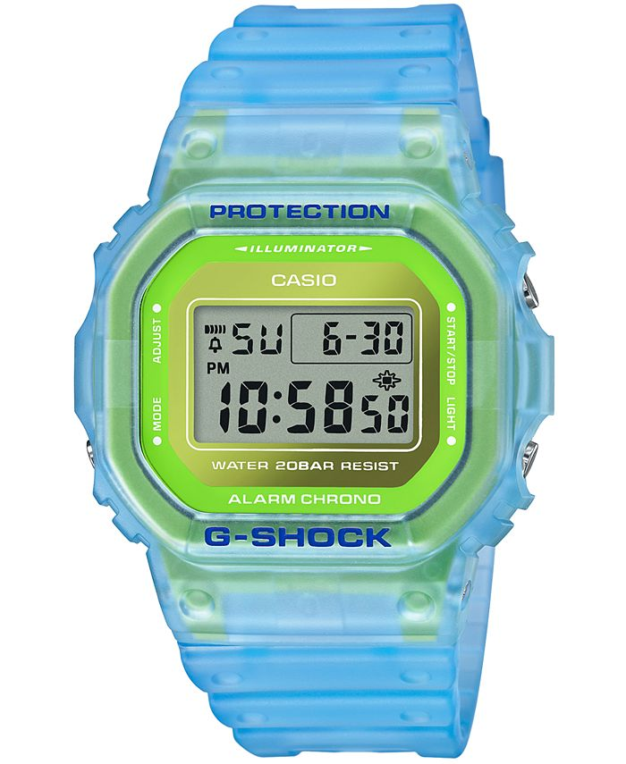 G-Shock - Men's Digital Frosted Blue Resin Strap Watch 42.8mm