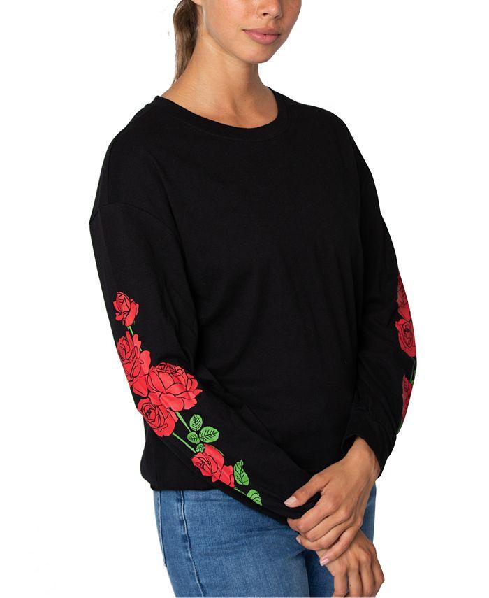 Rebellious One - Juniors' Cotton Roses Graphic T-Shirt