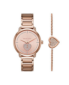 Michael Kors Women's Portia Rose Gold-Tone Stainless Steel Bracelet Watch 37mm Gift Set