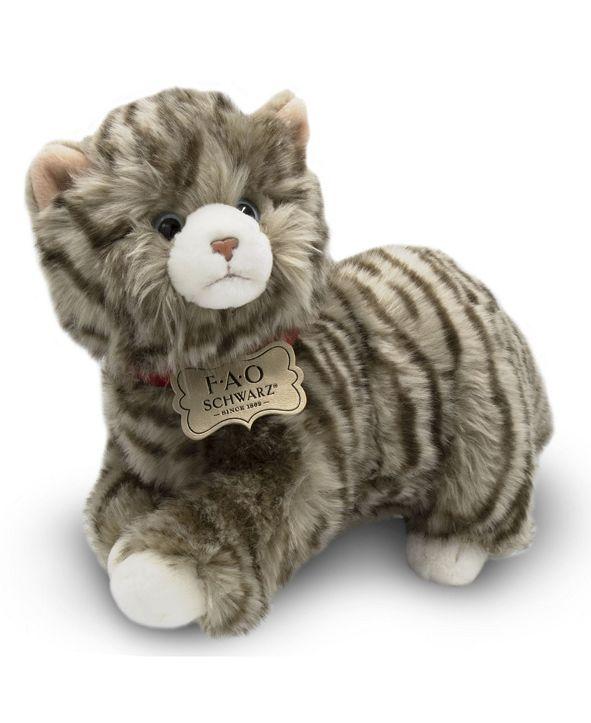 FAO Schwarz Toy Plush Realistic Tabby Cat