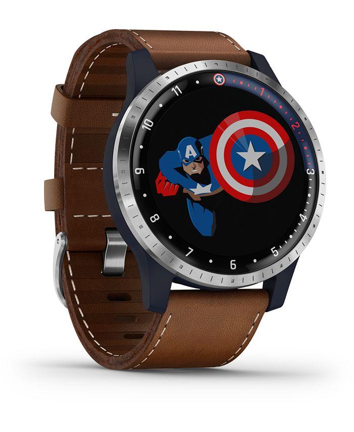 Garmin - Men's vivoactive 4 Captain Marvel Brown Silicone Strap Touchscreen Smart Watch 40mm