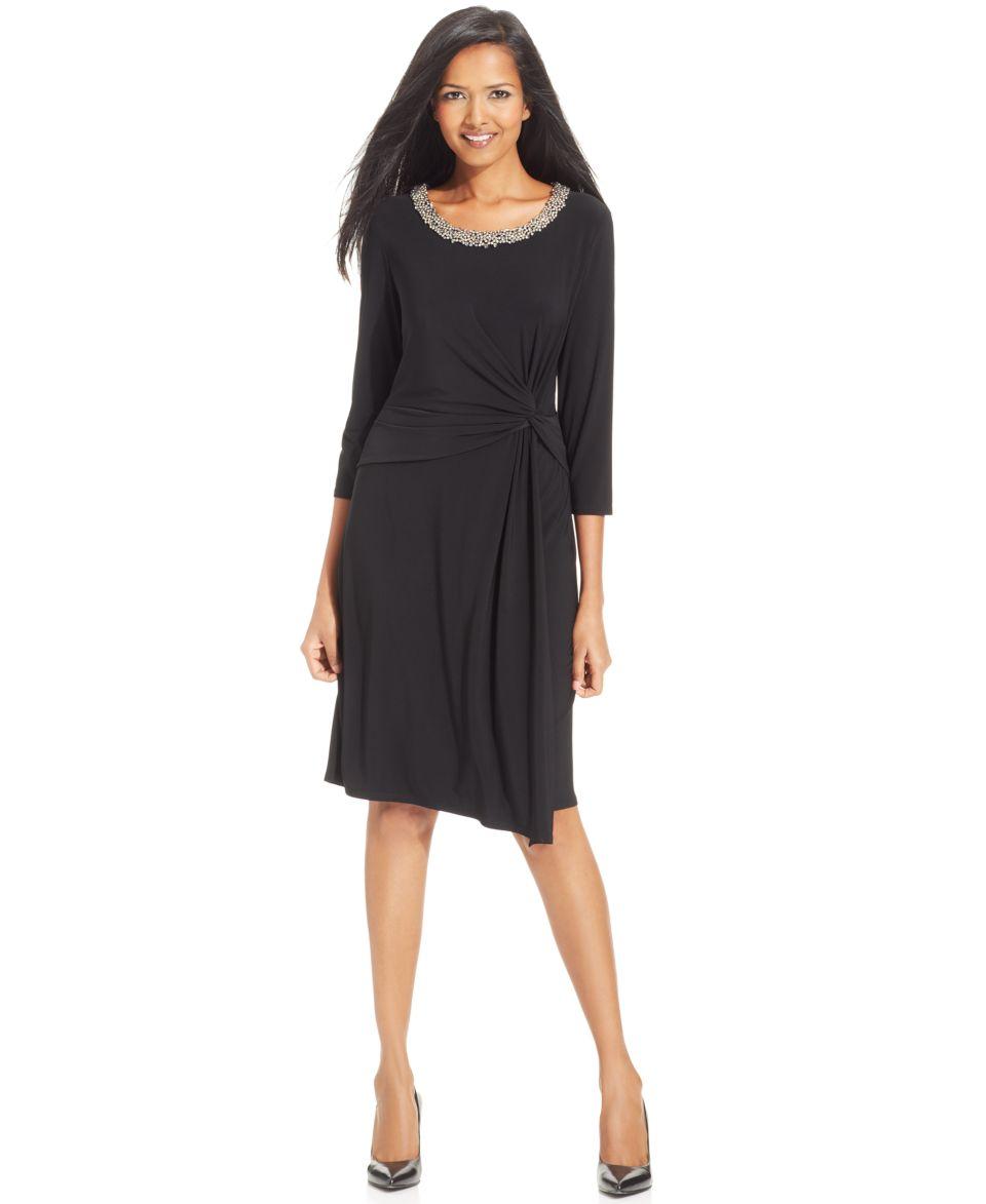 Anne Klein Three Quarter Sleeve Beaded Faux Wrap Dress   Dresses   Women