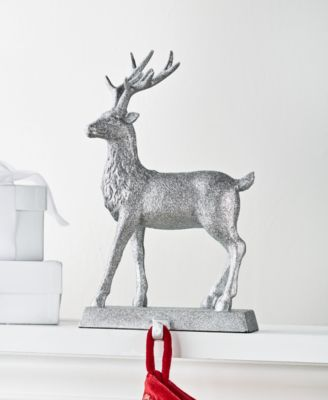 Shine Bright, Grey Glitter Reindeer Stocking Holder, Created for Macy's
