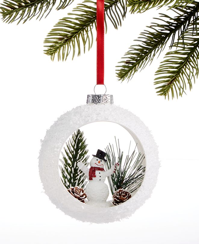 Holiday Lane Chalet You Stay, Hollow Glass Ball Ornament with Snowman and Tree Scene, Created for Macy's