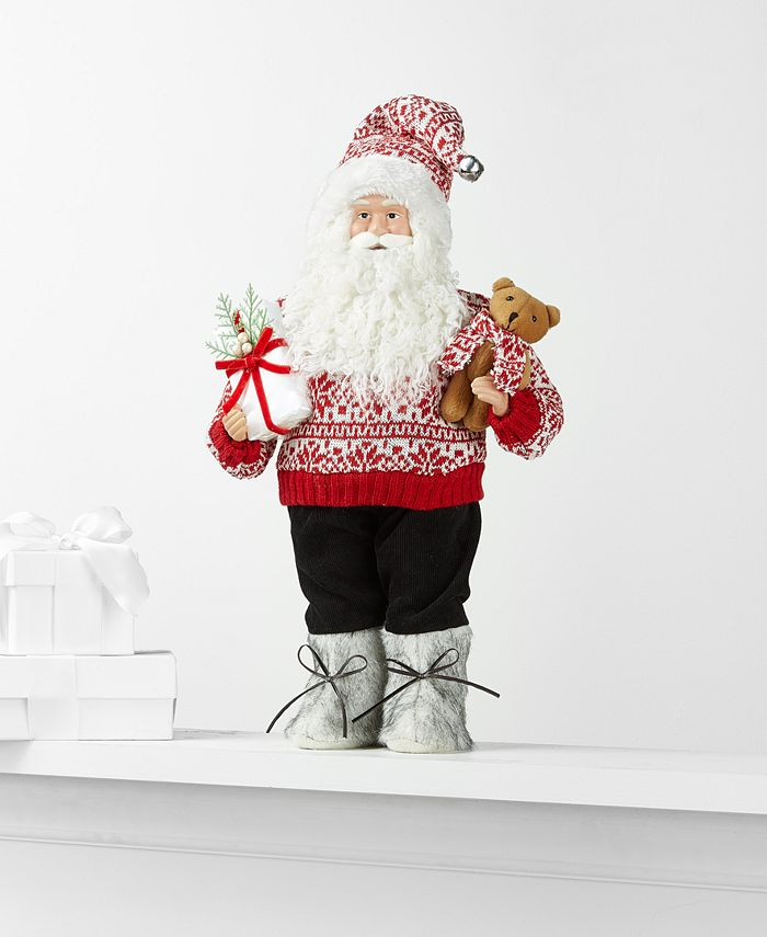 Holiday Lane - Standing Santa with Bear and Gift