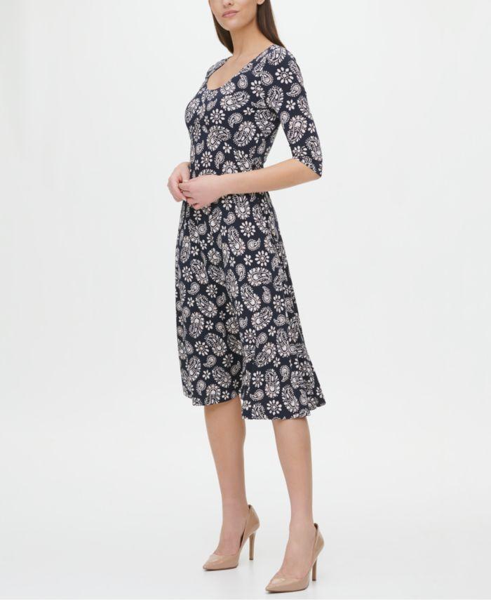 Tommy Hilfiger Paisley Scoop-Neck Dress & Reviews - Dresses - Women - Macy's