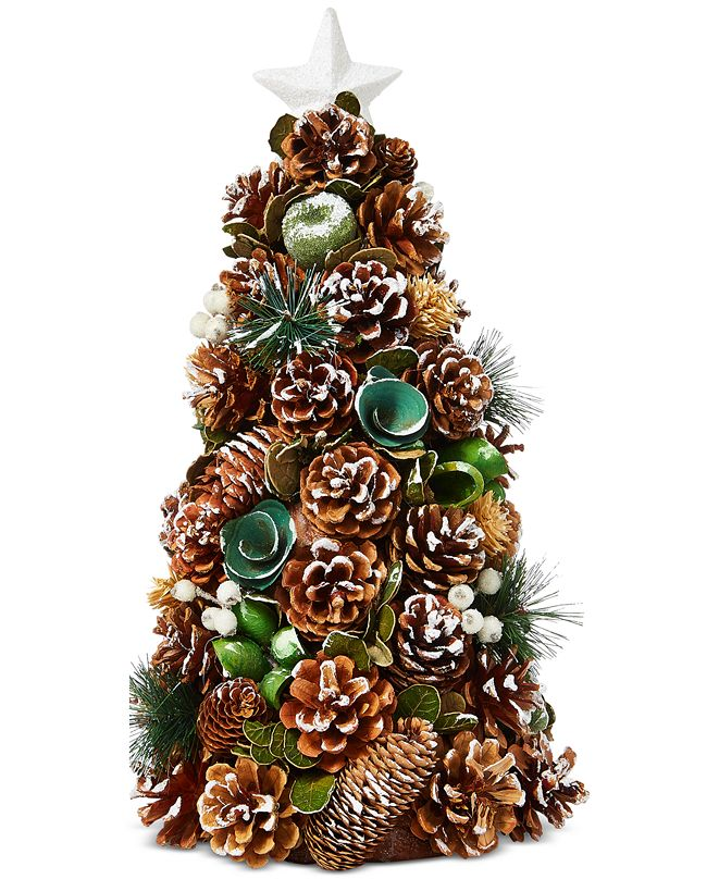 Holiday Lane Birds & Boughs Pine Cone Tabletop Decor Tree, Created for Macy's
