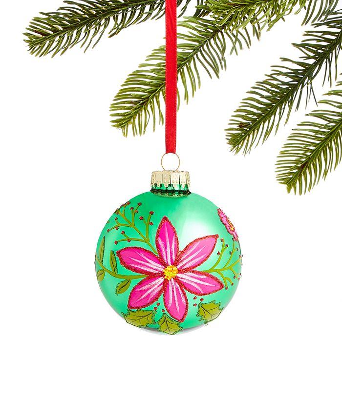 Holiday Lane - Bugs & Botanical Pink and Green Glass Ball Ornament