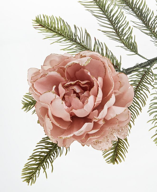 Holiday Lane Burgundy & Blush Large Pink Floral Clip, Created for Macy's