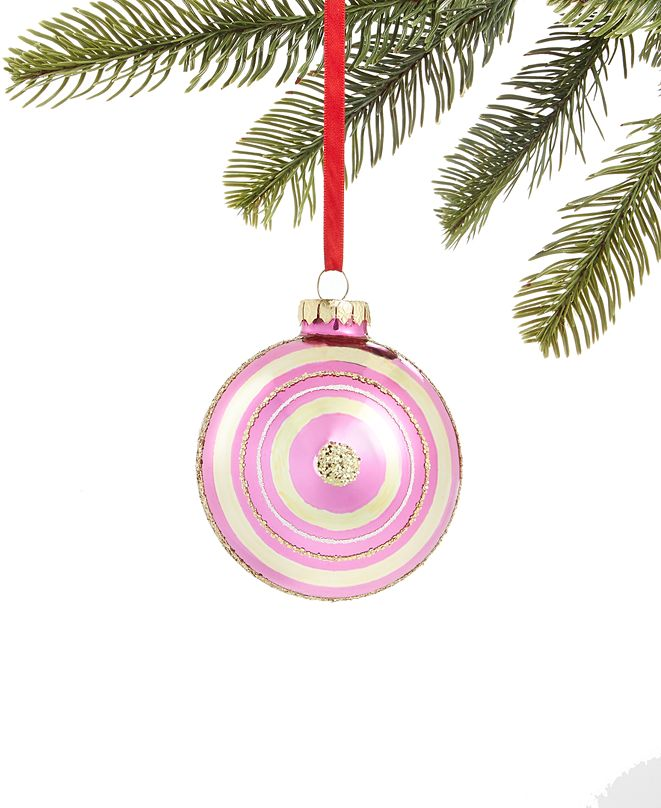 Holiday Lane Merry & Brightest Glass Ball Ornament with Pink & Gold Stripes, Created for Macy's