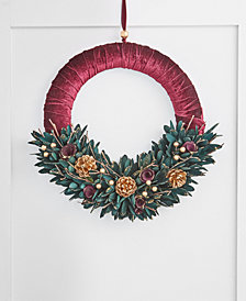 Holiday Lane Evergreen Dreams Floral Leaf Wreath, Created for Macy's