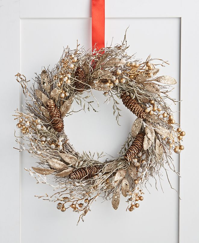 Martha Stewart Collection Gilded Age Metallic Berry & Branch Wreath, Created for Macy's