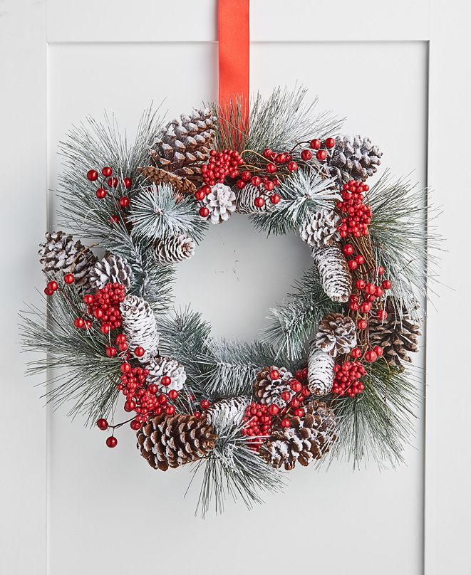 Martha Stewart Collection  Farmhouse Snowy Pine Cone and Red Berry Wreath, Created for Macy's