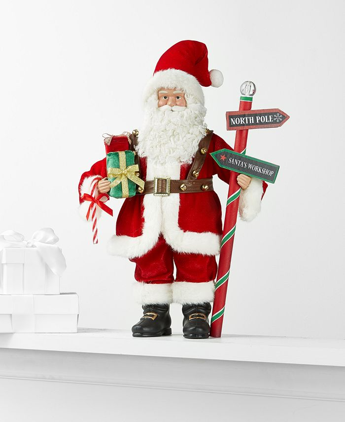 Holiday Lane - Standing Santa with Sign and Wrapped Gifts