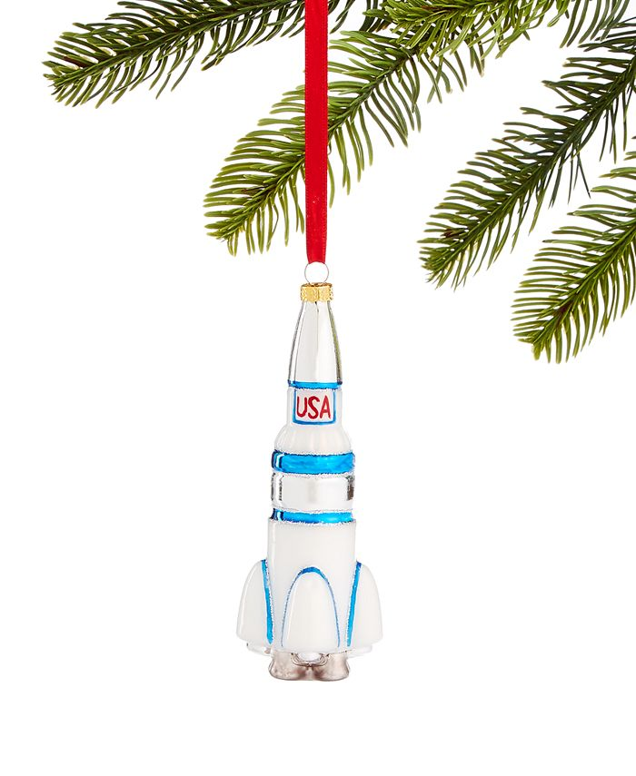 Holiday Lane - Spaced Out Glass USA Rocket Ornament