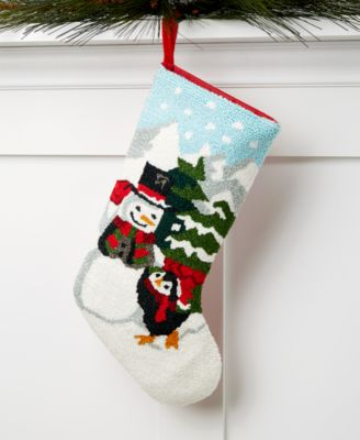 Multi-Color Snowman Hooked Christmas Stocking, Created for Macy's