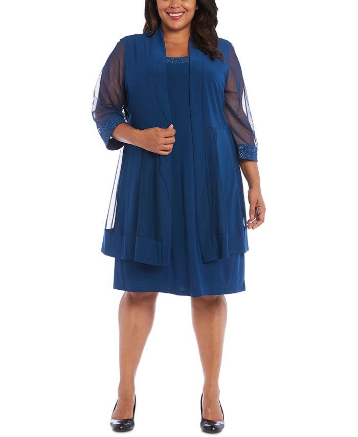 R & M Richards - Plus Size Embellished Dress & Jacket