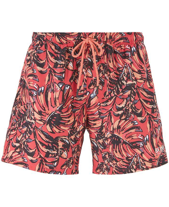 Hugo Boss - Men's Leaffish Drawstring-Waist Swim Shorts