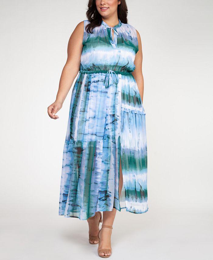 Black Tape - Plus Size Tie-Dyed Maxi Dress