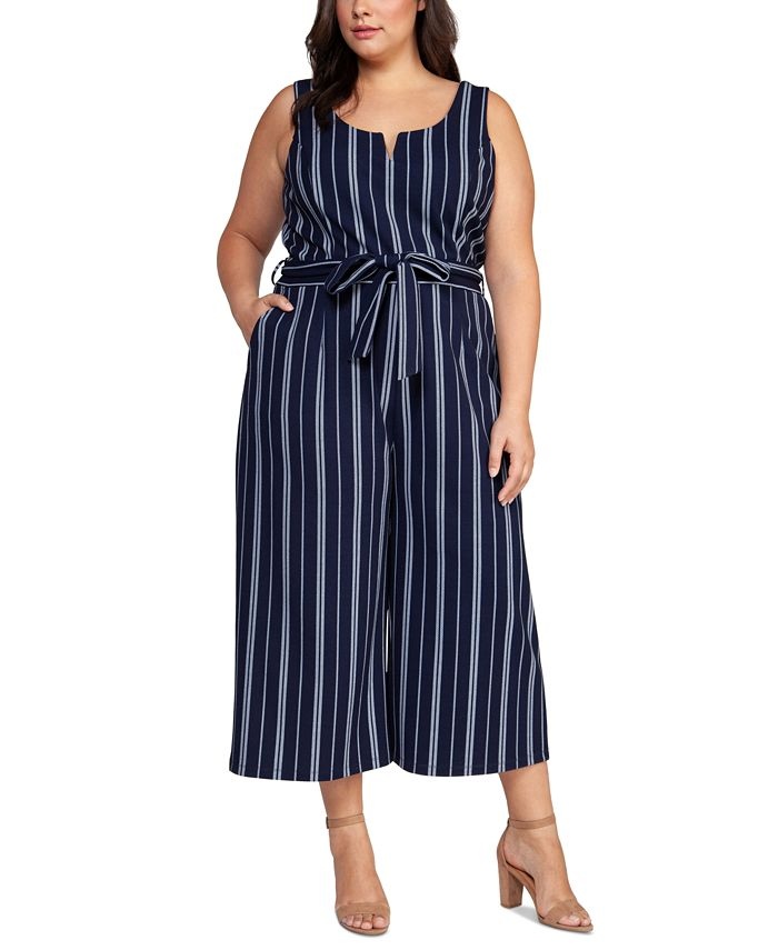 Black Tape - Plus Size Belted Striped Cropped Jumpsuit
