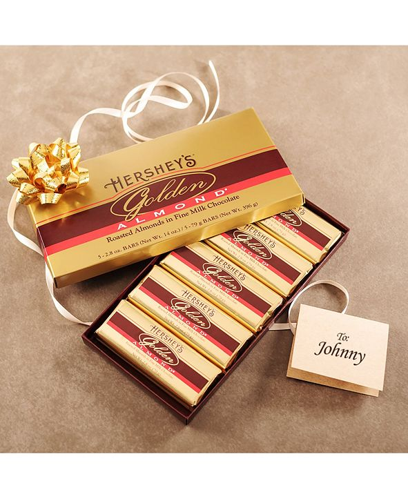 Hershey's Golden Almond Chocolate Bar Gift Box, 5 Count, 2.8 oz Bars