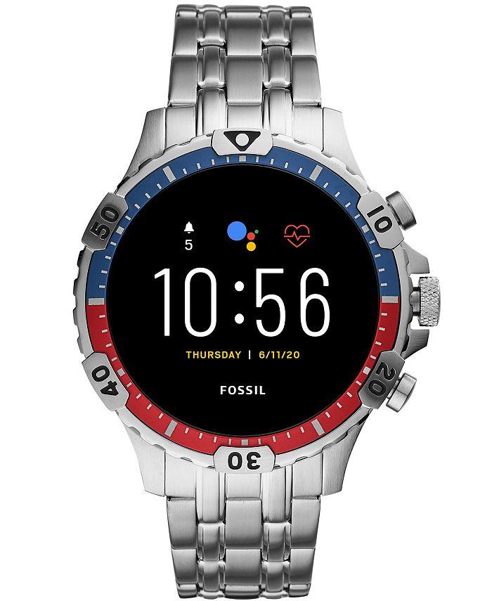 Fossil - Men's Gen 5 HR Stainless Steel Bracelet Touchscreen Smart Watch 46mm
