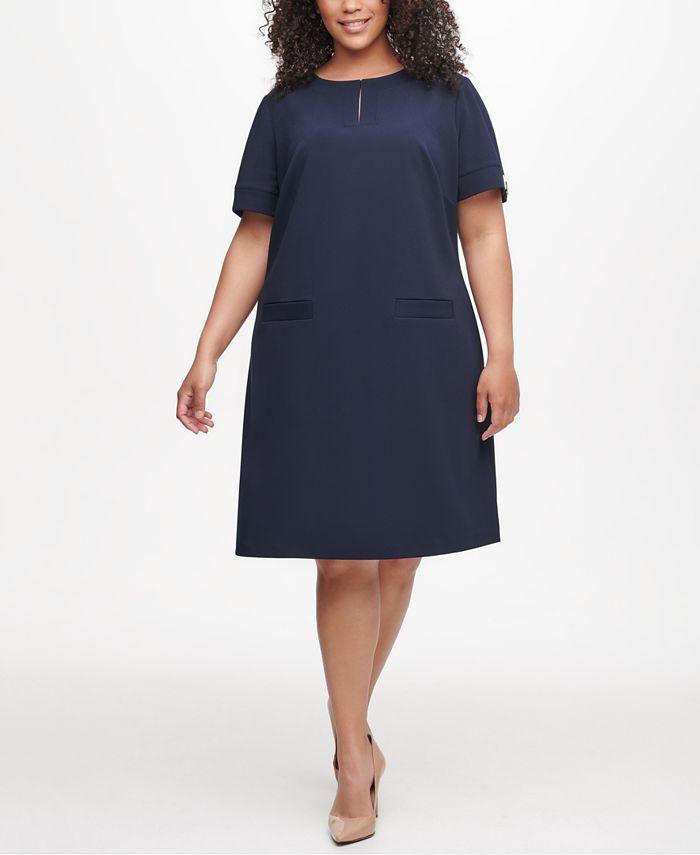 Tommy Hilfiger - Plus Size Hardware-Sleeve Shift Dress