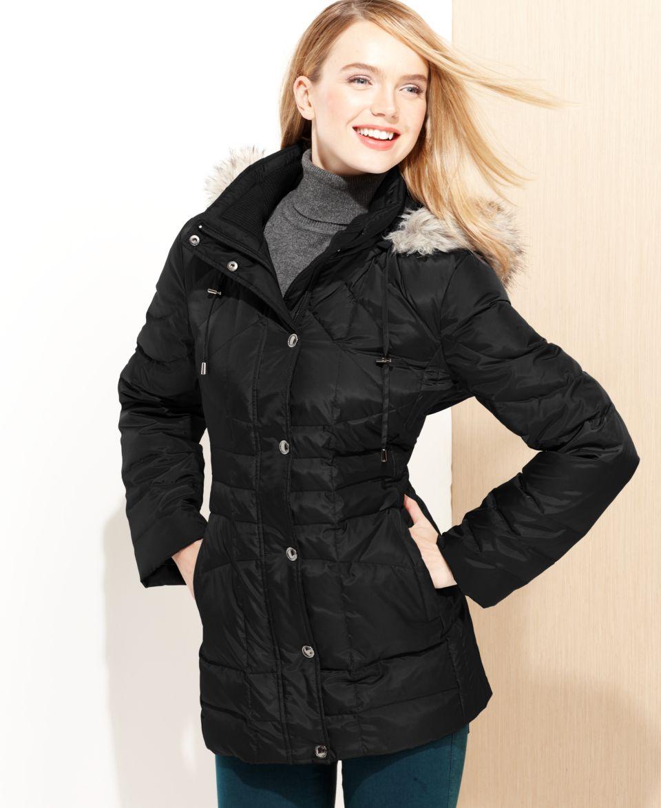 MICHAEL Michael Kors Hooded Faux Fur Trim Belted Puffer Coat   Coats   Women