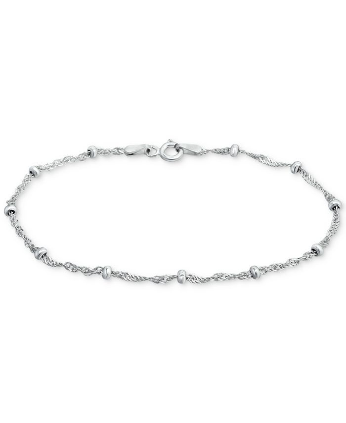"Giani Bernini - Sterling Silver Bracelet, 7-1/4"" Singapore Small Beaded Chain"