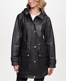 DKNY Hooded Leather Anorak Jacket