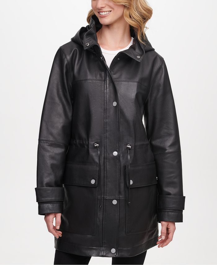 DKNY - Hooded Leather Anorak Jacket