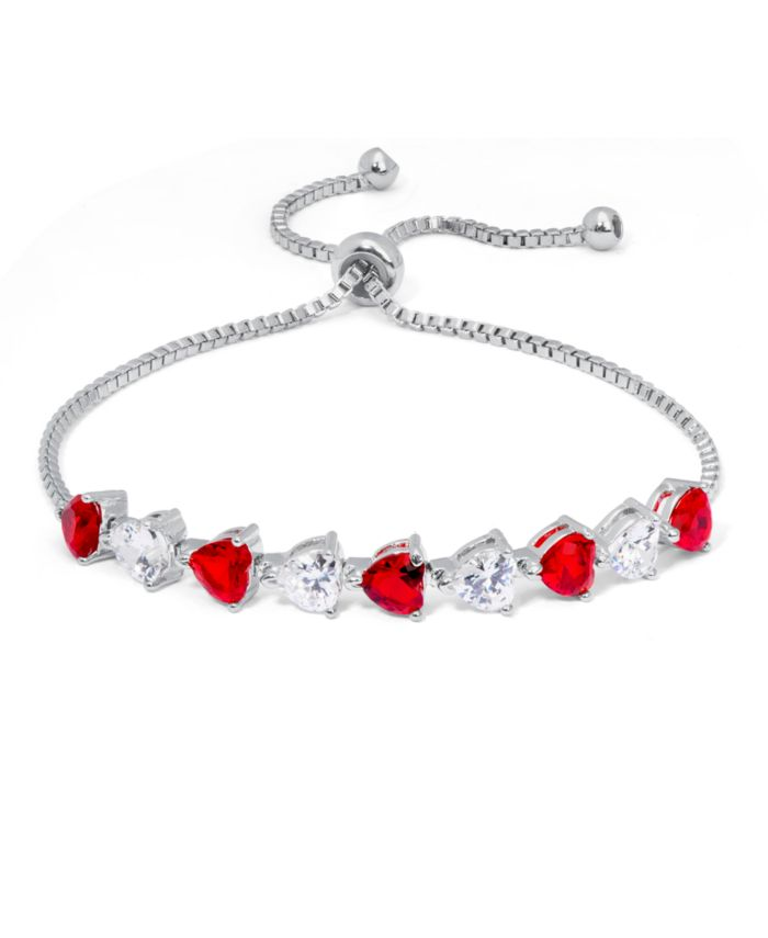 Macy's Fine Silver Plate Simulated Ruby And Cubic Zirconia Heart Adjustable Bolo Bracelet & Reviews - Bracelets - Jewelry & Watches - Macy's