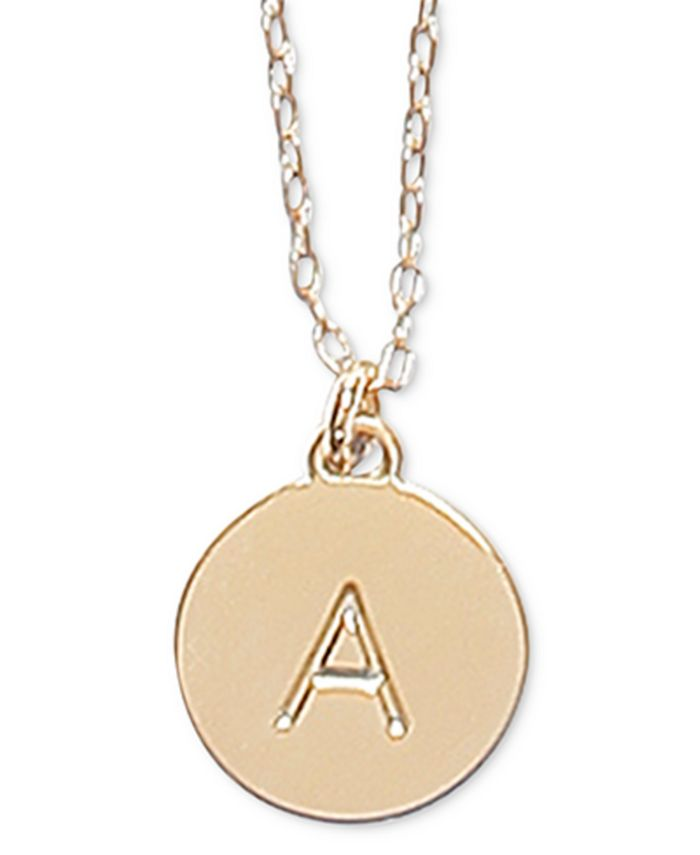 """kate spade new york - Gold-Tone Initial Disc Pendant Necklace , 17"""" + 3"""" extender"""