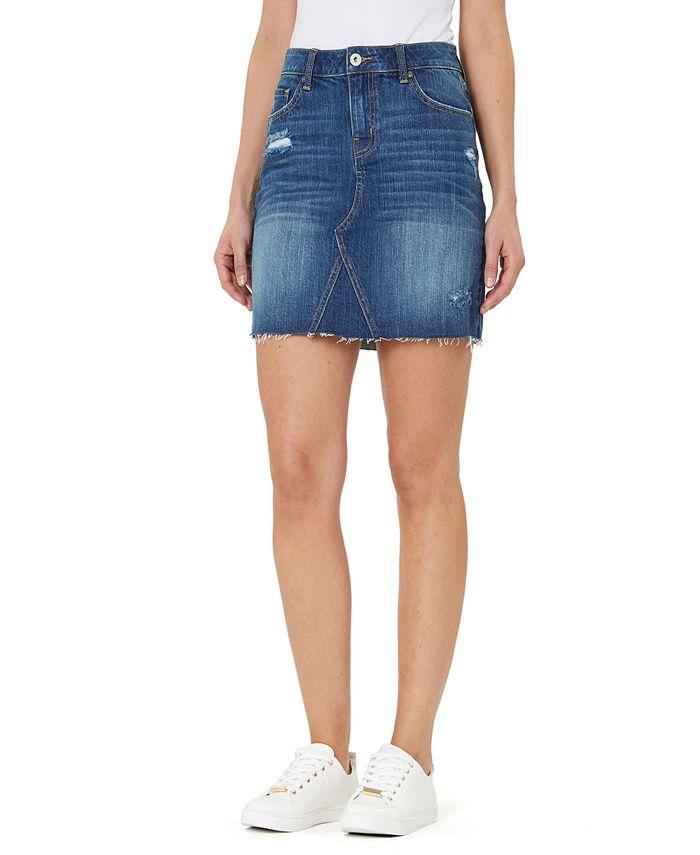 Numero - Distressed Cotton Denim Pencil Skirt
