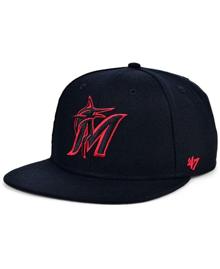'47 Brand - Miami Marlins Bright Red Shot Snapback Cap