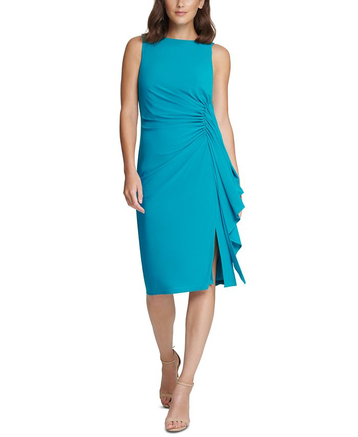 Vince Camuto - Ruched Ruffled Midi Dress