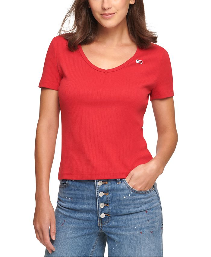 Tommy Jeans - Juniors' Cropped V-Neck T-Shirt