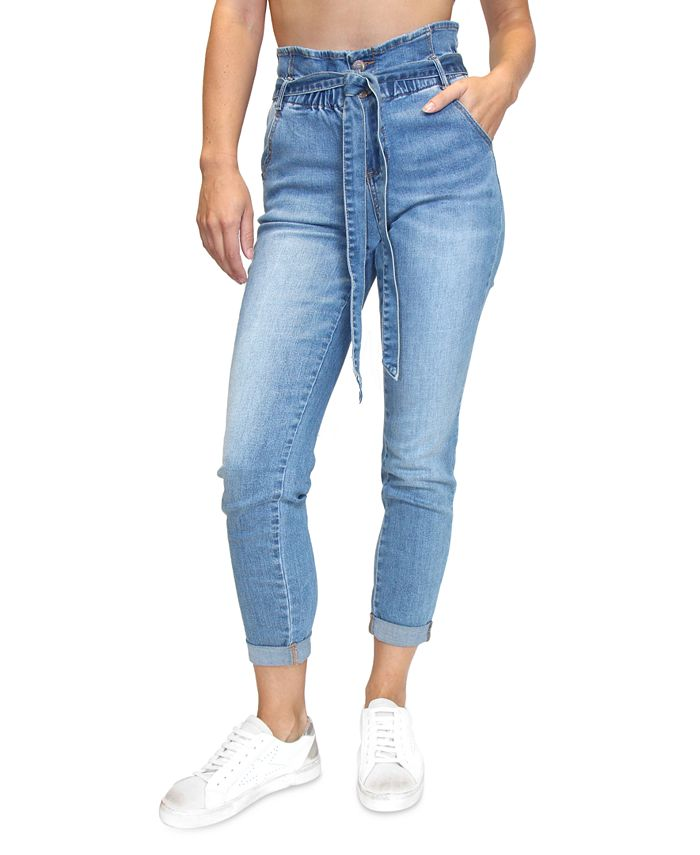 Almost Famous - Juniors' Paperbag-Waist Jeans